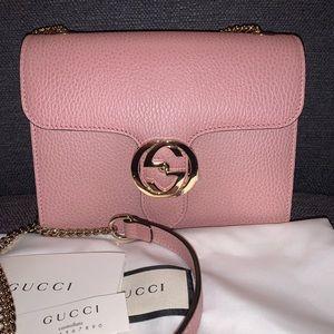 Gucci Pink Leather Interlocking Chain Crossbody